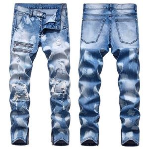 NEW Mens Blue Medium Wash Blue Jeans w/ Zipper